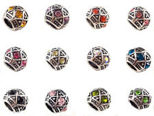 FREE 5pcs silver Black fit crystal spacer beads for European Charm Bracelet