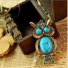 New Vintage Antique Copper Turquoise OWL Pendant Long Chain Necklace Jewellery