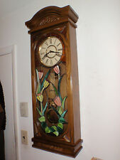 31 Day Wall Clock Stained Glass Long Case Brass Lyre Pendulum Stunning!