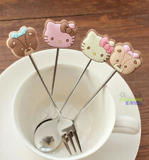Cute 4 pcs Hello Kitty & Teddy Bear Ice Cream Scoops Coffee Cake Dessert  Fork
