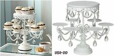 Crystal Dangle White Cake Cupcake Stand Wedding Party Baby Shower Food Prom 12""