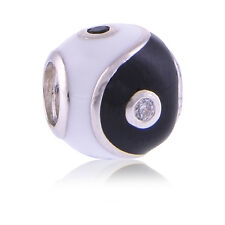 Genuine Pandora Silver Yin And Yang Enamel Charm Bread 790488CZ S925 ALE Auth