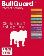 Bullguard Internet Security 2017 - 3 Devices - 1 Year- Sealed - All Windows PC