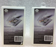 Battery Storage Containers Organizers Set Store Plastic Case Box AA 2 PACK
