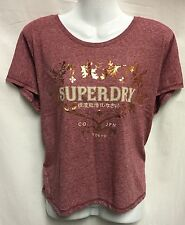 Ladies SUPERDRY Pink Marl Wide Fit Waist Length Sleeveless T-Shirt Size S (UK10)