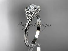 14k white gold celtic trinity knot wedding ring, engagement ring CT7322