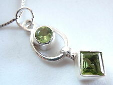 Very Small Faceted Peridot 925 Sterling Silver Necklace Round Square Cube New