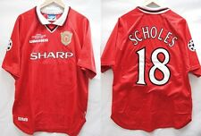 EPL Manchester United 1999-2000 Home Scholes #18 Soccer Football Shirt Jersey