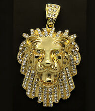 "Mens Gold Iced Out Lion Pendant Hip-Hop 30"" Rope Necklace Chain"