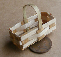 1:12th Single Square Corner Bamboo Basket Dolls House Miniature Accessory ZEL