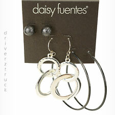 DAISY FUENTES New! THREE Pair EARRINGS Jet Tone STUDS & HOOPS Silver Tone DANGLE