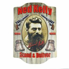 Ned Kelly WALL SIGN Wooden Medium ~ Man Cave Pool Room Bar