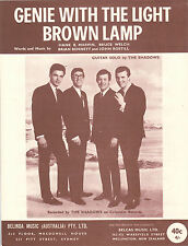 THE SHADOWS–Genie With The Light Brown Lamp-1960's Australian issue sheet music
