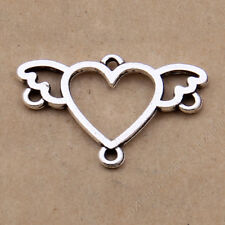 20x Tibetan Silver Charms Heart Wings Connectors Findings DIY Accessories/784F