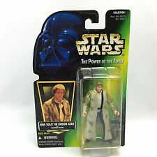 Star Wars POTF2/HAN SOLO IN ENDOR GEAR Action Figure/Kenner 1996/Green HOLO Card