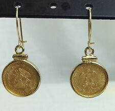 Very Nice 22k Gold Coin Earrings Mexican Dos Pesos 1945 BU Quality!