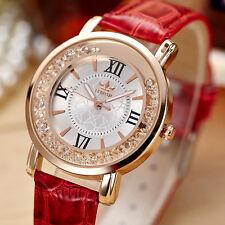 Superbe Montre Luxe Quartz Perle Cristal Femme FORON Classique Bracelet Cuir