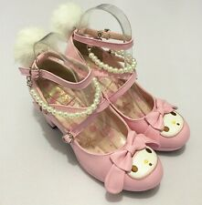 My Melody Lolita Lovely Girls Shoes High Heels Pearl Fur Tail Thick Heel Shoes