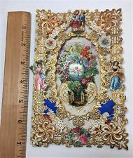 SUPER Fancy Lace Die Cut Victorian Valentine - 1870 3D Americana Folk Art pull