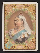 1 SINGLE ANTIQUE PLAYING SWAP CARD OLD WIDE ROYALTY QUEEN VICTORIA 1897 BRN/BRN