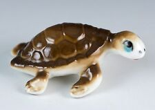 Vintage Bone China Miniature Brown Sea Turtle Figurine Glossy Finish