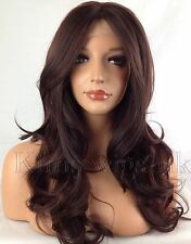 TWO TONE DARK RED HEAT RESISTANT LONG WOMANS LADIES WAVY LACE FRONT HAIR WIG