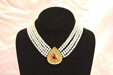 MAGNIFICENT ROBERT WHITESIDE 18K GOLD DIAMOND PEARL TOURMALINE NECKLACE