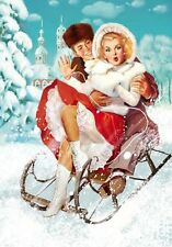 Baby It's Cold Outside Pin-Up in Snow 8x10 Fabric Block - Buy 2, Get 1 FREE!