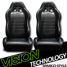 JDM SP Style Black PVC Leather Reclinable Racing Bucket Seats w/Sliders Pair V12