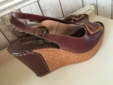 Real Brown Leather Slingback Peep Toe Wedge Heel Shoes Sandals Wedges Size 6 39
