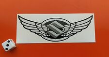 Suzuki Winged Motorcycle Helmet STICKER 120mm x 40mm