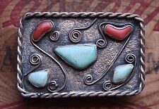 Vintage Sterling Silver Hand Made Faux Turquoise Coral Western Belt Buckle