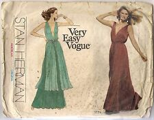 Vogue Sewing Pattern 1774 Stan Herman Vintage Evening Dress Size 10, Uncut