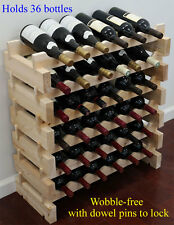 Stackable Wine Storage Rack 36 Bottles (6X6), solid wood,  Cellar Shelves WN36