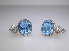 LOVELY SIGNED SWAROVSKI SILVER WITH SPARKLING BLUE & CLEAR CRYSTAL EARRINGS!