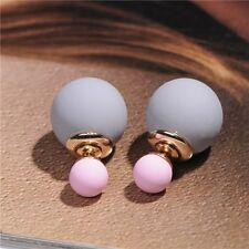 Fashion Girls Gold Colorful Candy Color Double Pearl Elegant Stud Earrings 5#