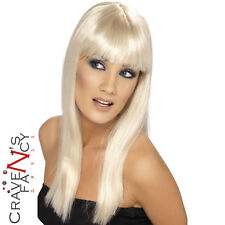 Ladies Long Blonde Glamourama Wig Halloween Fancy Dress Accessory New