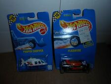 LOT 2 VTG 1990 HOT WHEELS MOC! RARE # 86 PROPER CHOPPER (NEWS) & # 140 FLASHFIRE
