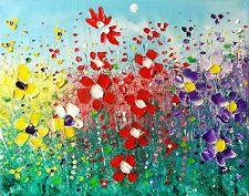 WILD Meadow Flower Garden, ORIGINALE Floreale pittura ad olio su tela, da Phil ampio