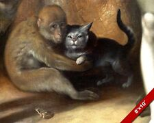 SMALL MONKEY HOLDING CAT ANIMAL LOVE PAINTING PET ART REAL CANVAS PRINT