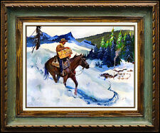 Joseph Stahley Original Painting Oil On Board Signed Western Cowboy Horse Art