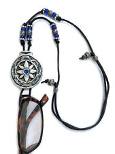 Handmade Eyeglasses Sunglasses Holder Adjustable necklace Silver and Blue Flower