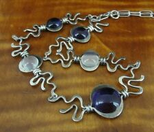 Amethyst Purple Stones with Moonstones Link Sterling Silver NECKLACE