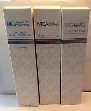 3 Piece Set Mica Beauty Cosmetics Cleanser, Toner, Makeup Remover New In Boxes