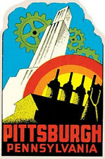 Pittsburgh, Pennsylvania  PA Vintage-Style Travel Decal