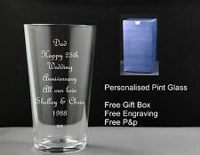 Personalised Pint Glass Anniversary Gift 1st 5th 10th 20th 25th 30th 40th 50th