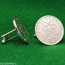 Atomic Theory Greek Coin Cufflinks, Greece 10 Drachmes