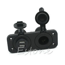 Dual USB Console+Single Seater Car Auto Mount Marine Boat Jack 12V Power Outlet