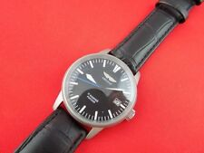 POLJOT AVIATOR MILITARY MAN's WRIST WATCH WITH NEW LEATHER BAND RARE BLACK DIAL