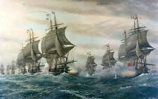 Stunning Oil painting Seascape Battle Of Virginia Capes with huge sail boats